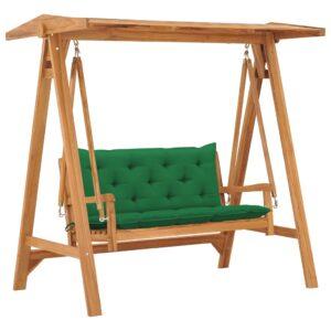 Banco de baloiçar com almofadão verde 170 cm teca maciça - PORTES GRÁTIS