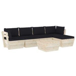 6 pcs conjunto lounge de paletes + almofadões madeira de abeto - PORTES GRÁTIS