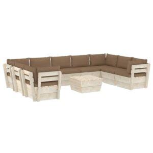 10 pcs conjunto lounge de paletes + almofadões madeira de abeto - PORTES GRÁTIS