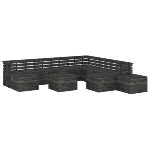 12 pcs conjunto lounge de paletes pinho maciço cinzento-escuro - PORTES GRÁTIS