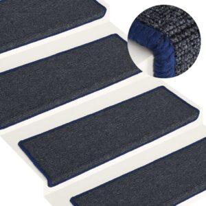Tapete/carpete para degraus 15 pcs 65x25 cm cinzento e azul - PORTES GRÁTIS