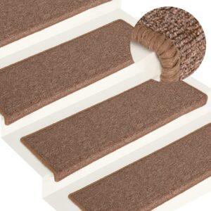 Tapete/carpete para degraus 15 pcs 65x25 cm castanho - PORTES GRÁTIS
