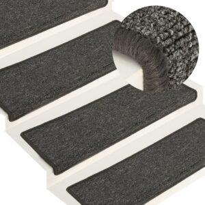 Tapete/carpete para degraus 15 pcs 65x25 cm cinzento e preto - PORTES GRÁTIS