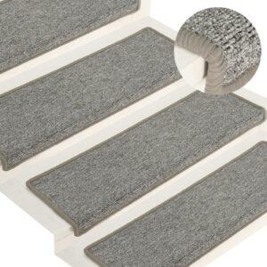Tapete/carpete para degraus 15 pcs 65x25 cm branco e cinzento - PORTES GRÁTIS