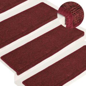 Tapete/carpete para degraus 15 pcs 65x25 cm vermelho fosco - PORTES GRÁTIS