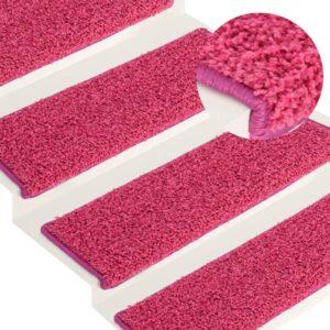 Tapete/carpete p/ degraus 15 pcs 65x25 cm cor-de-rosa - PORTES GRÁTIS