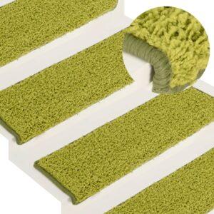 Tapete/carpete para degraus 15 pcs 65x25 cm verde - PORTES GRÁTIS