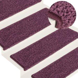 Tapete/carpete para degraus 15 pcs 65x25 cm roxo-escuro - PORTES GRÁTIS