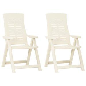 Cadeiras de jardim reclináveis 2 pcs plástico branco - PORTES GRÁTIS