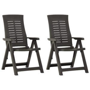 Cadeiras de jardim reclináveis 2 pcs plástico antracite - PORTES GRÁTIS