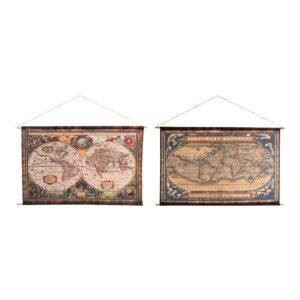2 Pinturas DKD Home Decor Colonial Mapa do Mundo 97 x 75 cm