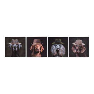 4 Pinturas DKD Home Decor Cão Moderno 28 x 1.5 x 28 cm