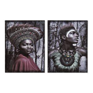 2 Pinturas DKD Home Decor Africana Colonial 30 x 1.8 x 40 cm