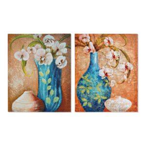 2 Pinturas DKD Home Decor Bloemen Tradicional 40 x 1.8 x 50 cm