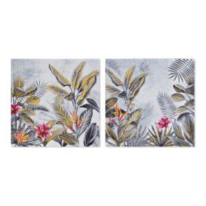 2 Pinturas DKD Home Decor Planta Tropical 40 x 1.8 x 40 cm