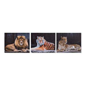 3 Pintura DKD Home Decor animais Colonial 50 x 1.8 x 40 cm