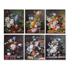 6 Pinturas DKD Home Decor Bloemen Tradicional 40 x 1.8 x 50 cm