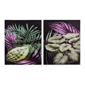 2 Pinturas DKD Home Decor Planta Tropical 40 x 1.8 x 50 cm