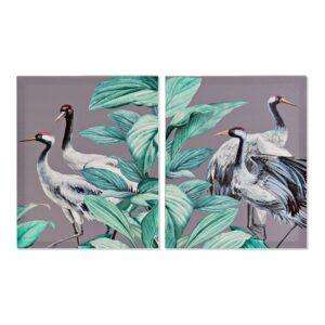 2 Pinturas DKD Home Decor Pássaros Oriental 40 x 1.8 x 50 cm