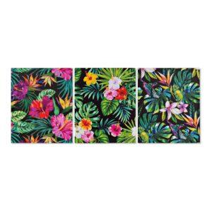 3 Pinturas DKD Home Decor Floral Tropical 40 x 1.8 x 50 cm