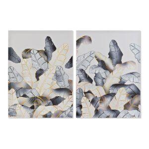 2 Pintura DKD Home Decor Folhas 50 x 1.8 x 70 cm