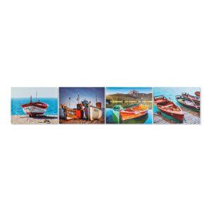 4 Pinturas DKD Home Decor Barco Mediterrâneo 40 x 1.8 x 50 cm