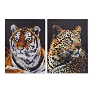 2 Pinturas DKD Home Decor Leopardo Colonial 50 x 1.8 x 70 cm