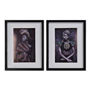2 Pinturas DKD Home Decor Étnico Colonial 35 x 2 x 45 cm