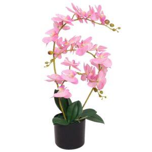 Planta orquídea artificial com vaso 65 cm rosa - PORTES GRÁTIS