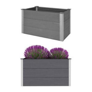 Canteiro elevado para jardim WPC 100x50x54 cm cinzento - PORTES GRÁTIS