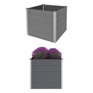 Canteiro elevado para jardim WPC 100x100x91 cm cinzento - PORTES GRÁTIS