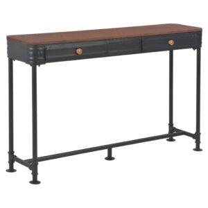 Mesa consola com 2 gavetas 120x30x75 cm madeira de abeto maciça - PORTES GRÁTIS