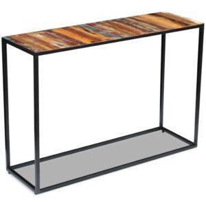 Mesa consola em madeira reciclada sólida 110x35x76 cm - PORTES GRÁTIS