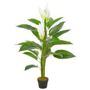 Planta antúrio artificial com vaso 115 cm branco - PORTES GRÁTIS
