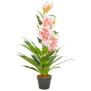 Planta lírio artificial com vaso 90 cm rosa - PORTES GRÁTIS