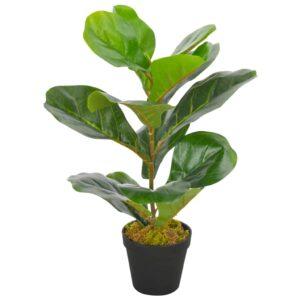 Planta figo folhas de violino artificial com vaso 45 cm verde - PORTES GRÁTIS