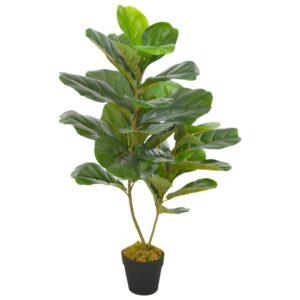 Planta figo folhas de violino artificial com vaso 90 cm verde - PORTES GRÁTIS