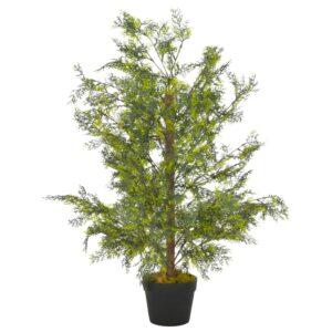 Planta cipreste artificial com vaso 90 cm verde - PORTES GRÁTIS