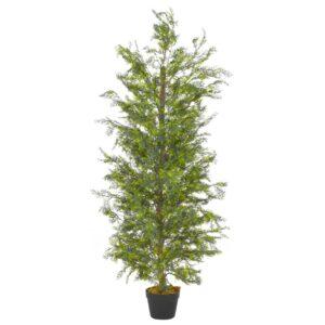 Planta cipreste artificial com vaso 150 cm verde - PORTES GRÁTIS