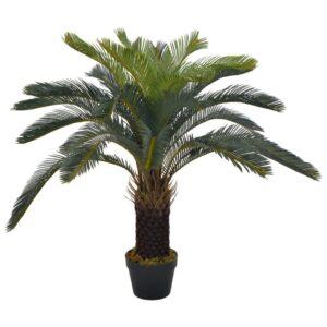 Palmeira cica artificial com vaso 90 cm verde - PORTES GRÁTIS