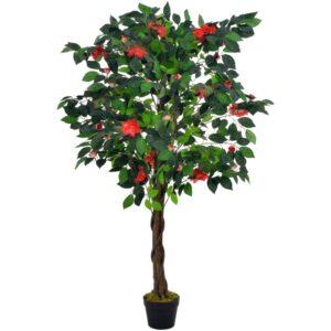 Planta camélia artificial com vaso 125 cm verde - PORTES GRÁTIS