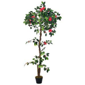 Planta camélia artificial com vaso 160 cm verde - PORTES GRÁTIS