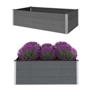 Canteiro elevado para jardim 200x100x54 cm WPC cinzento - PORTES GRÁTIS