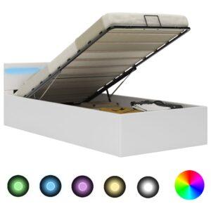 Cama hidráulica c/ arrumação LED 100x200cm couro artifi. branco  - PORTES GRÁTIS