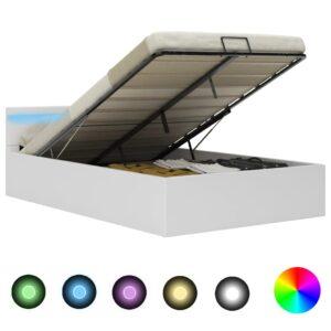 Cama hidráulica c/ arrumação LED 120x200cm couro artifi. branco  - PORTES GRÁTIS