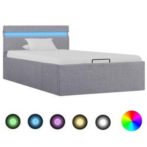 Cama hidráulica arrumação c/ LED 90x200cm tecido cinzento-claro  - PORTES GRÁTIS