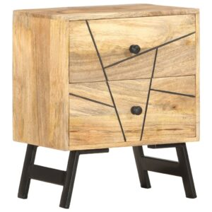 Mesa de cabeceira 40x30x50 cm madeira de mangueira maciça  - PORTES GRÁTIS