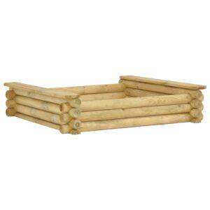 Caixa de areia 120x120x27 cm madeira de pinho impregnada - PORTES GRÁTIS
