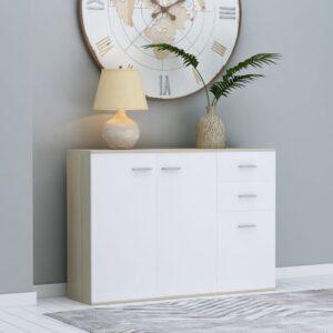 Aparador 105x30x75 cm contraplacado cor branco/carvalho sonoma - PORTES GRÁTIS
