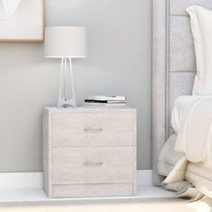 Mesa de cabeceira 40x30x40 cm contraplacado cinzento cimento - PORTES GRÁTIS